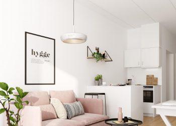 Studiebolig i Ballerup her med udsyn til sofa og køkken.